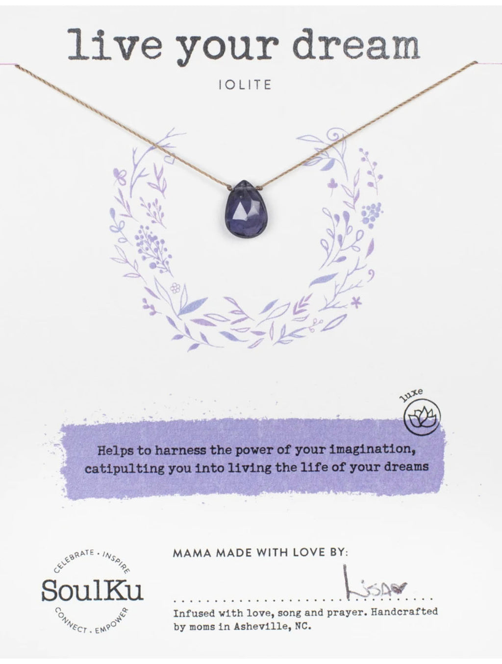 "SoulKu Jewelry Luxe ""Live Your Dream"" Necklace in Lolite"