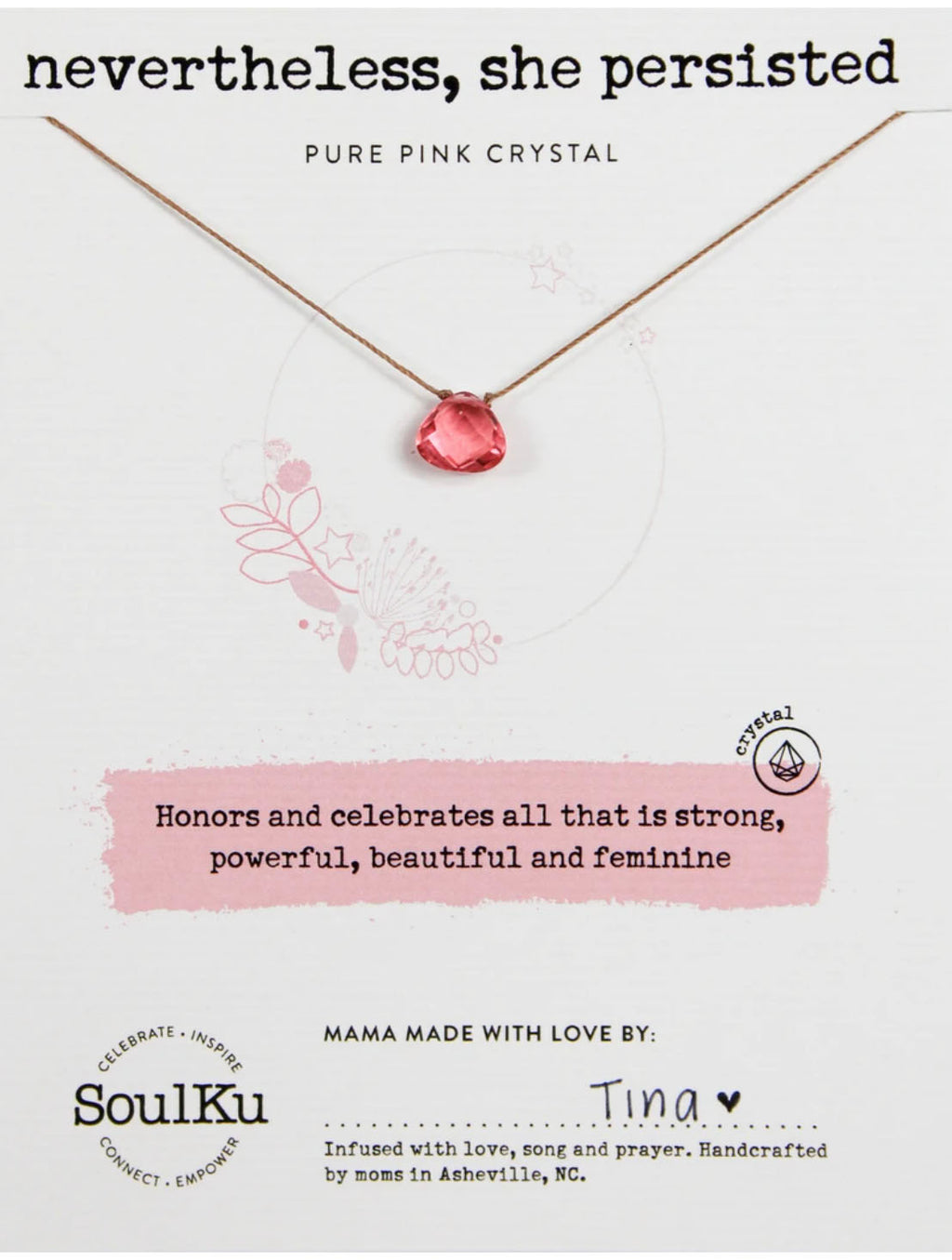 "SoulKu Jewelry Soul Shine ""Nevertheless"" Necklace in Pure Pink"