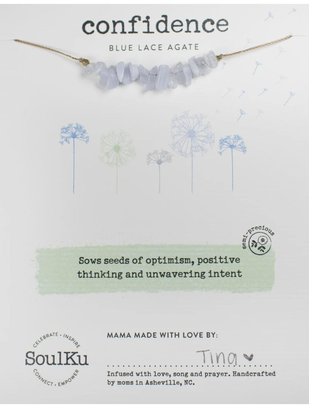 "SoulKu Jewelry Seed ""Confidence"" Necklace in Blue Lace Agate"