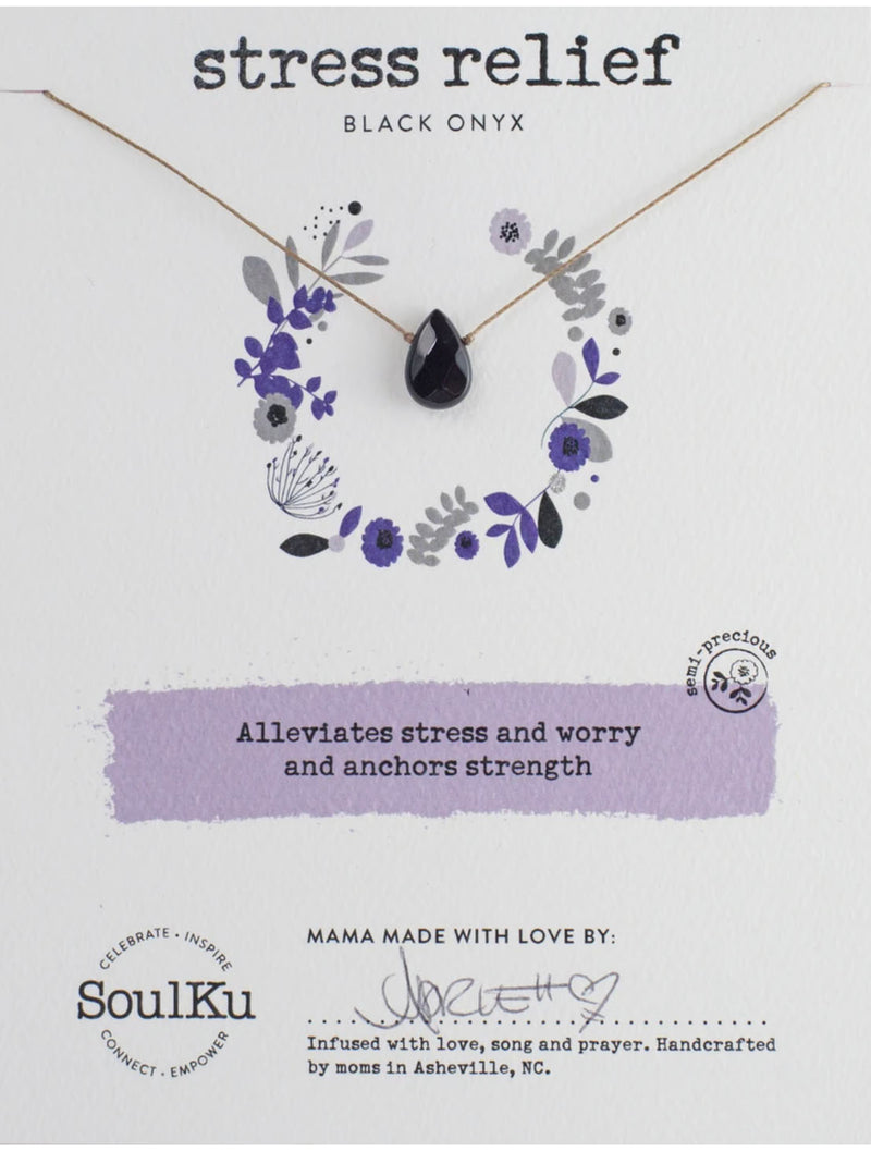 "SoulKu Jewelry Soul-Full of Light ""Stress Relief"" Necklace in Black Onyx"