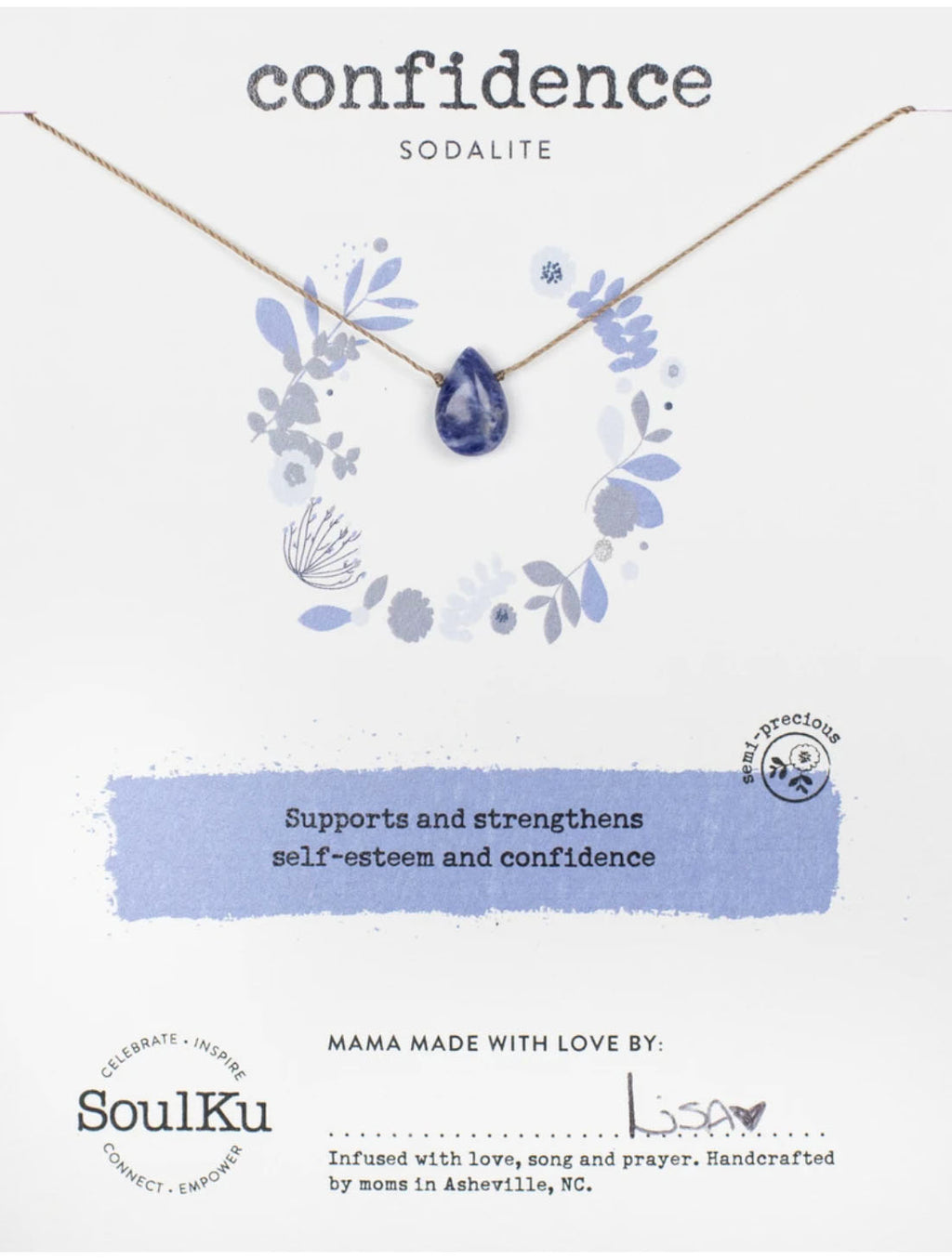 "SoulKu Jewelry Soul-Full of Light ""Confidence"" Necklace in Sodalite"
