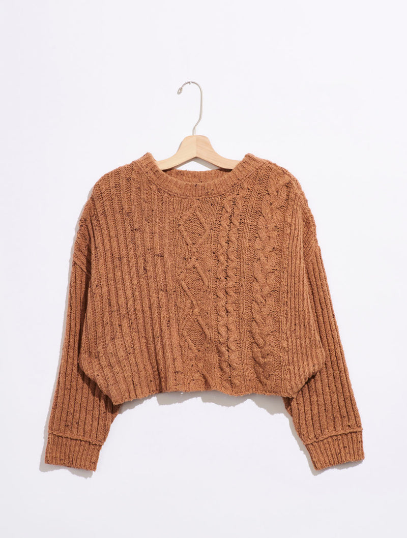 Free People On Your Side Sweater in Brown Sugar Combo