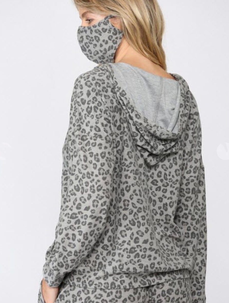 Fate Hooded Leopard Sweater in Grey Multi