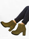 Eric Michael Quebec Suede Heeled Ankle Boot in Khaki