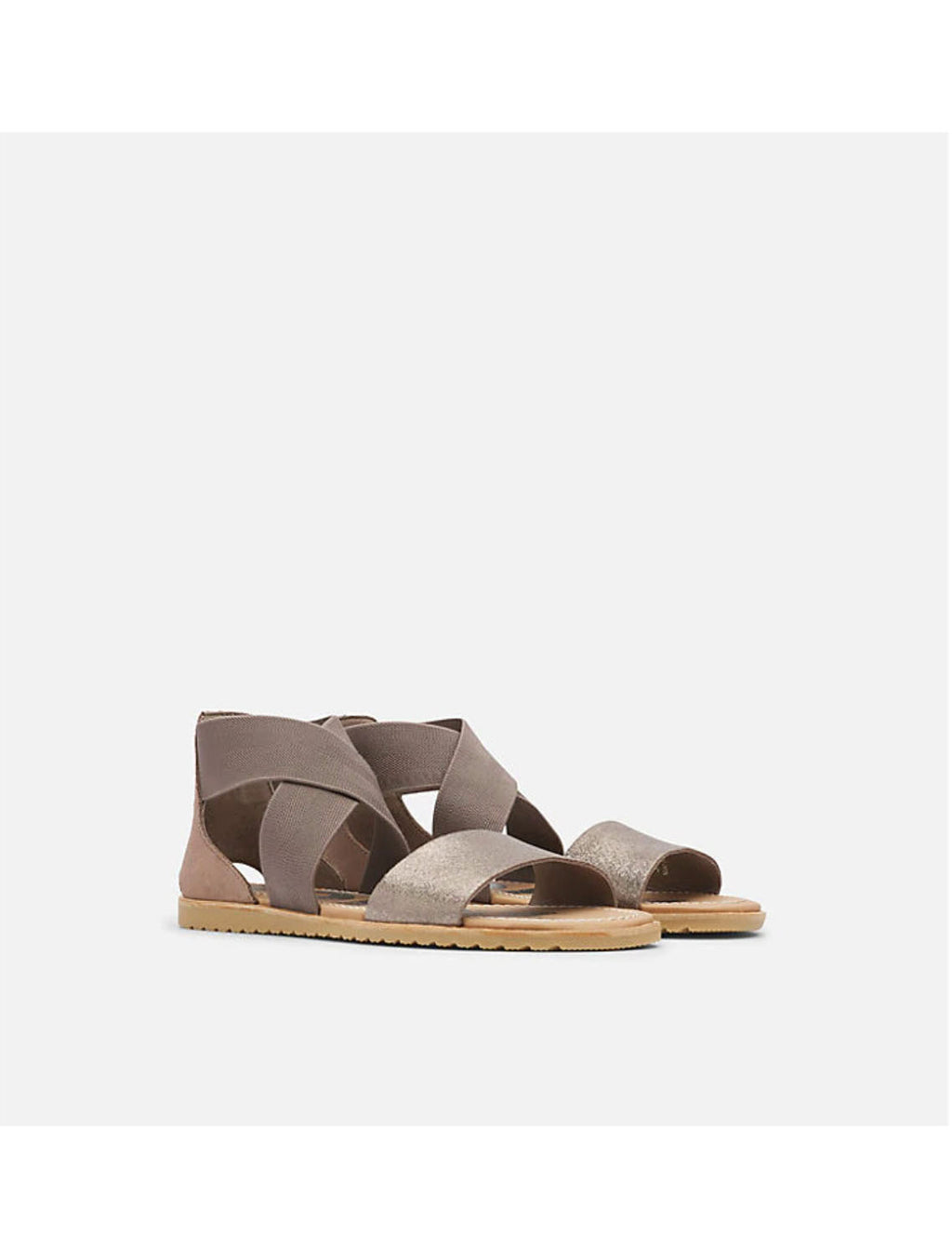 Sorel Ella Sandal in Ash Brown Metallic