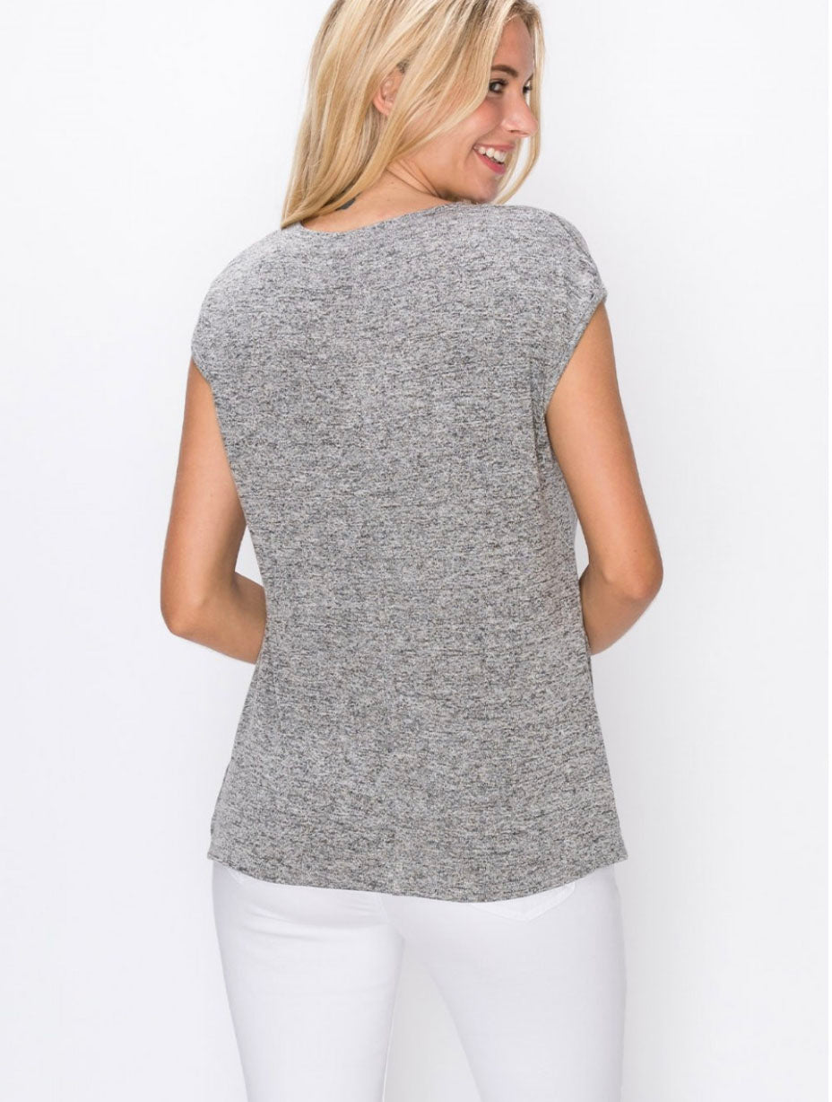 Coin 1804 Twist Front V-Neck in Heather Gray