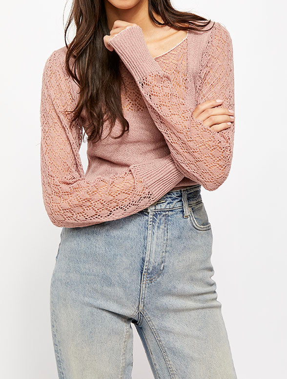 Free People Crystallized Sweater in Mauve
