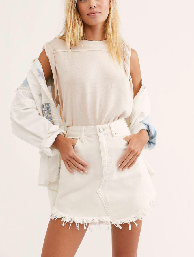 Free People Bailey Mini Skirt in White