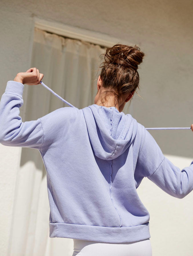 Free People Work It Out Hoodie in Violet