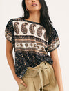 Free People Paisley Tee in Black