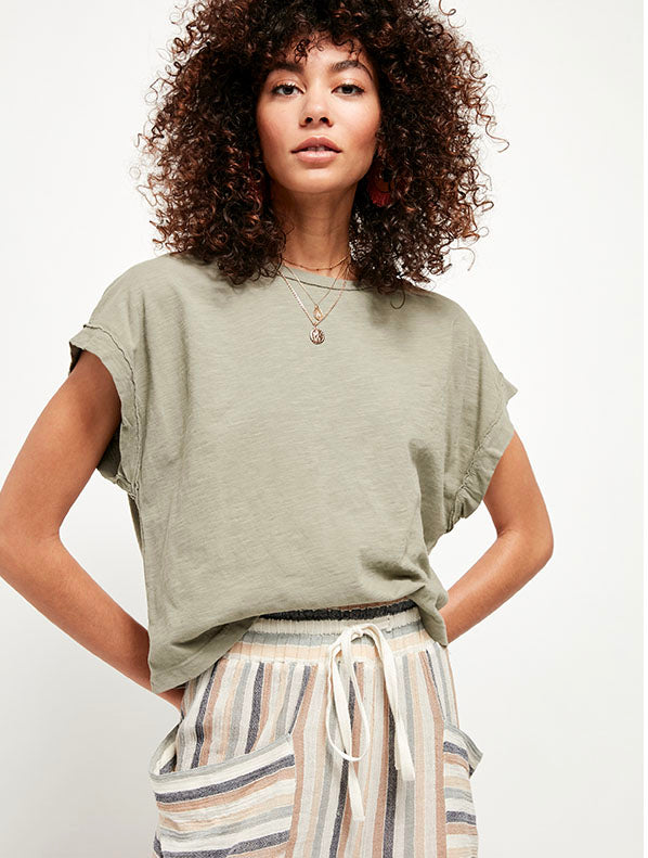 Free People You Rock Tee in Army