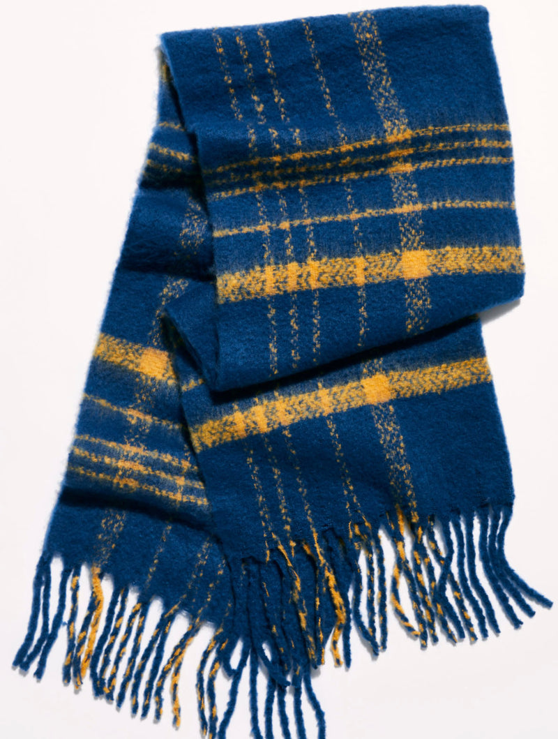 Free People Brushed Plaid Scarf in Navy Combo