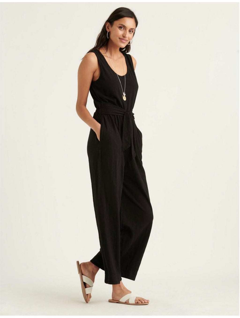 Lucky Brand Cotton Slub Jumpsuit in Black