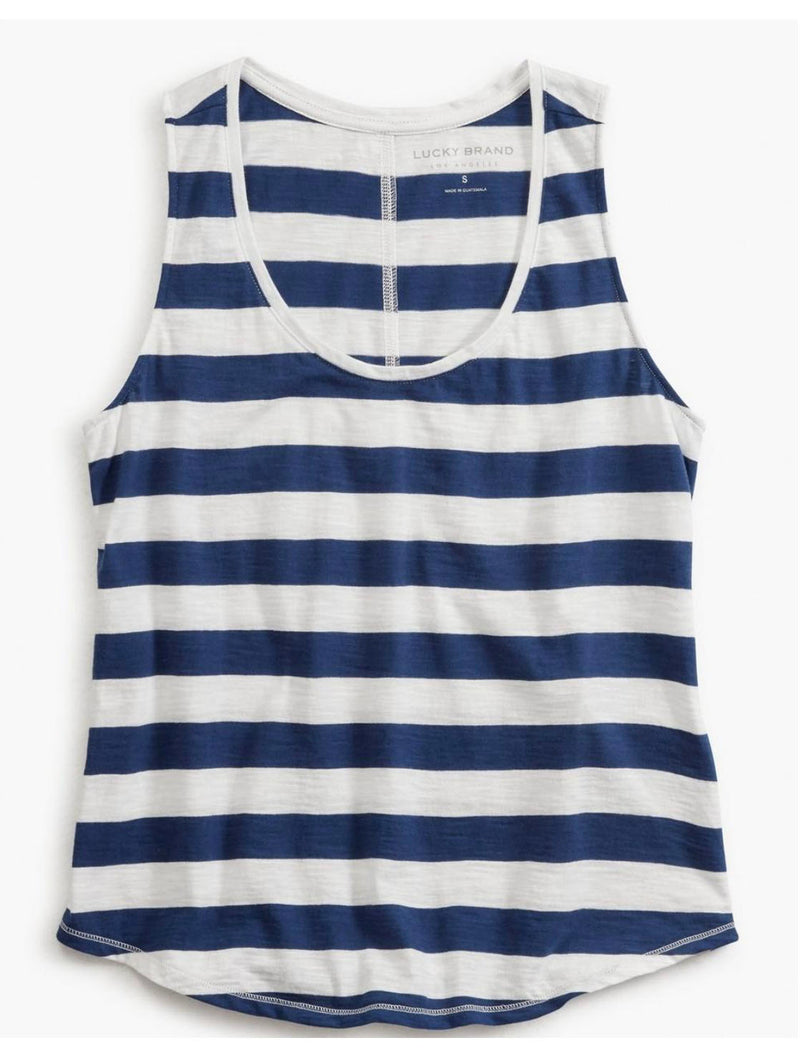 Lucky Brand Striped Tank in Cobalt
