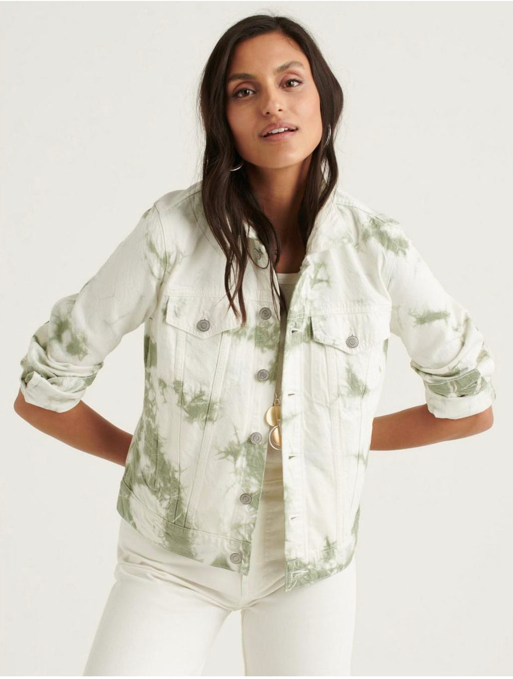 Lucky Brand Tomboy Trucker Jacket in Green Tie Dye