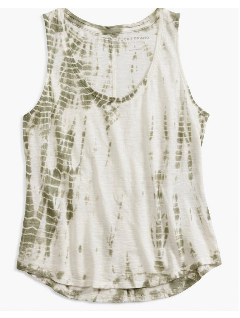 Lucky Brand Printed Tank in Green Tie Dye