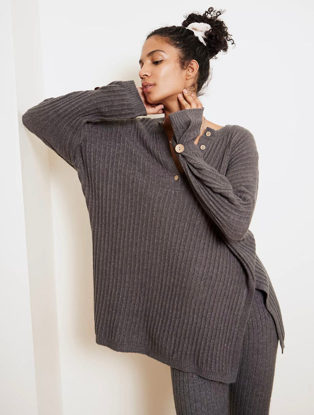Free People Around The Clock Pullover Top in Charcoal