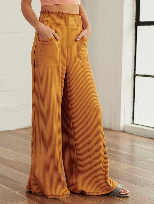 Free People Blissed Out Wide Leg Pant in Golden Ochre