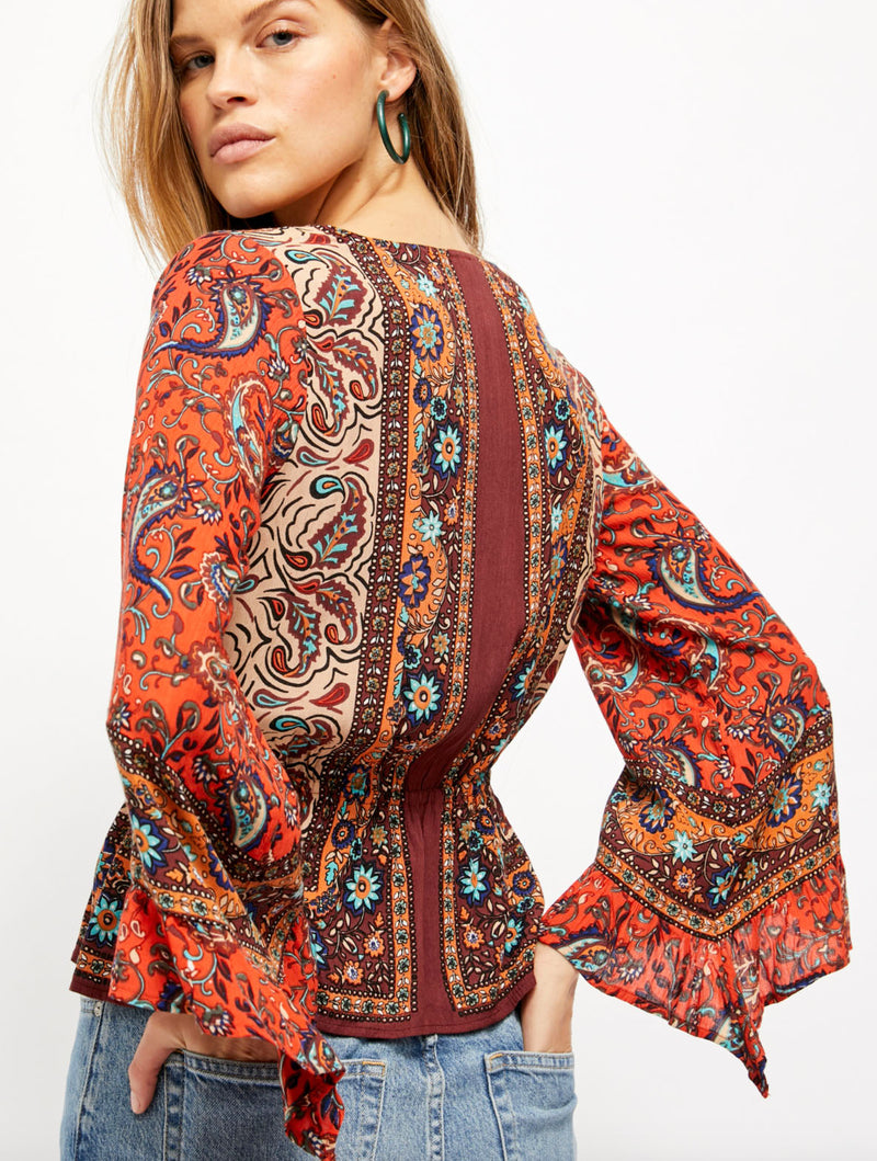 Free People Rosalie Wrap Top in Red