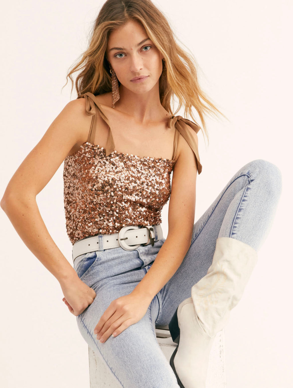 Free People Hey Girl Sequin Cami in Rose