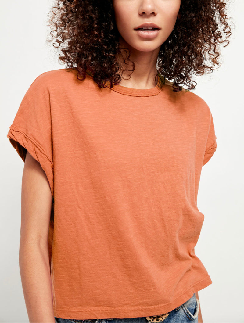 Free People You Rock Tee in Coral Clay