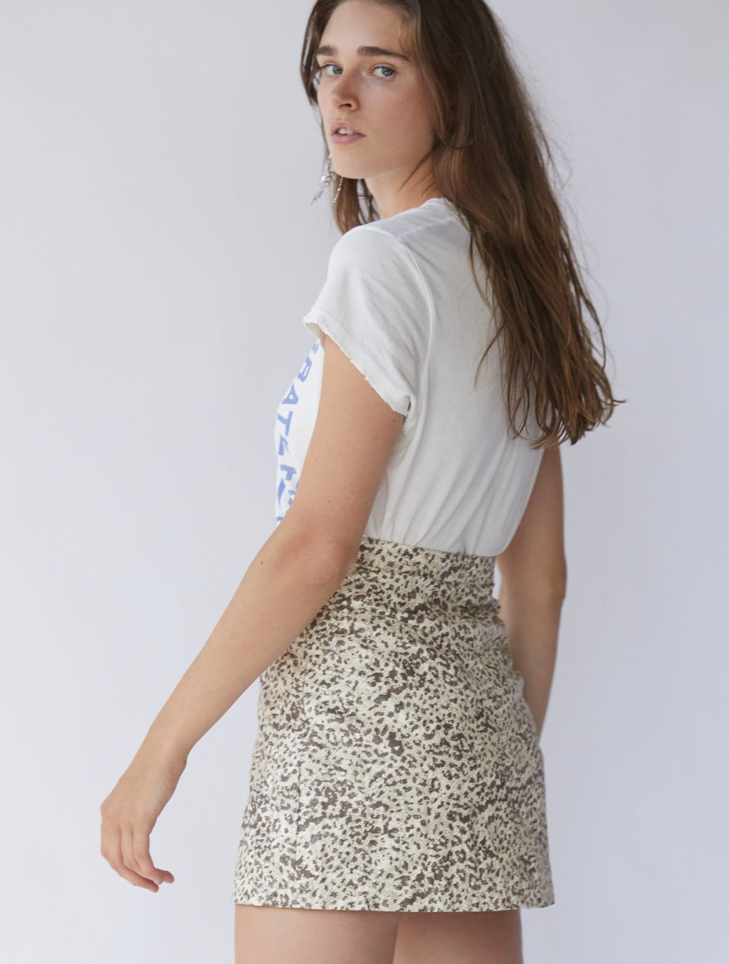 Free People Printed Fake Out Skirt in Light Combo