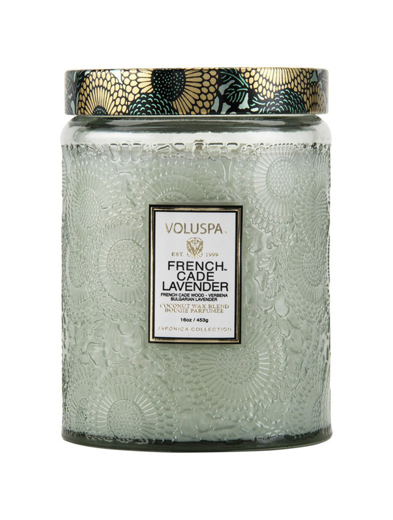 Voluspa Large Embossed Glass Jar Candle in French Cade