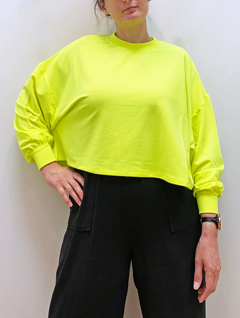 RD Style Cropped Sweatshirt in Neon Yellow