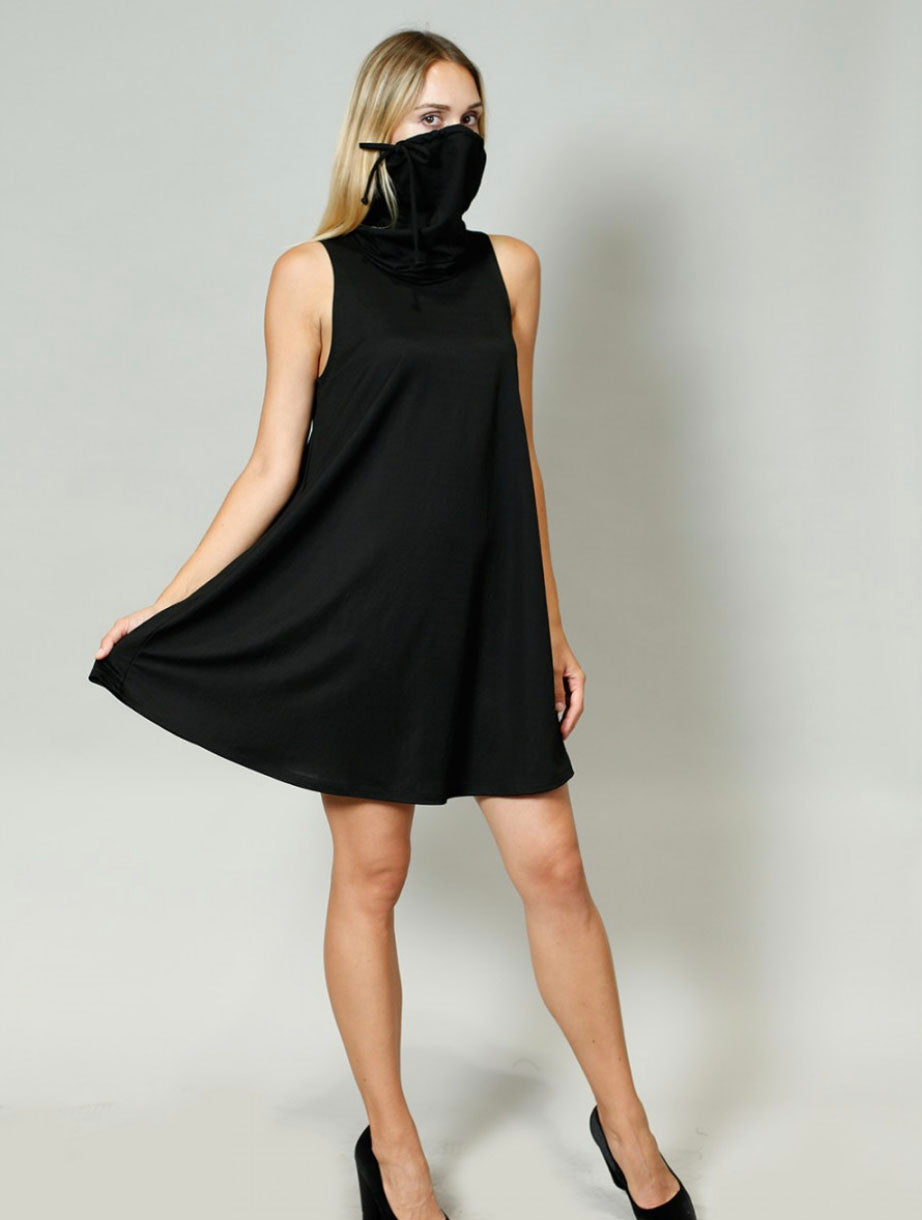 Coin 1804 Funnel Neck Dress in Black