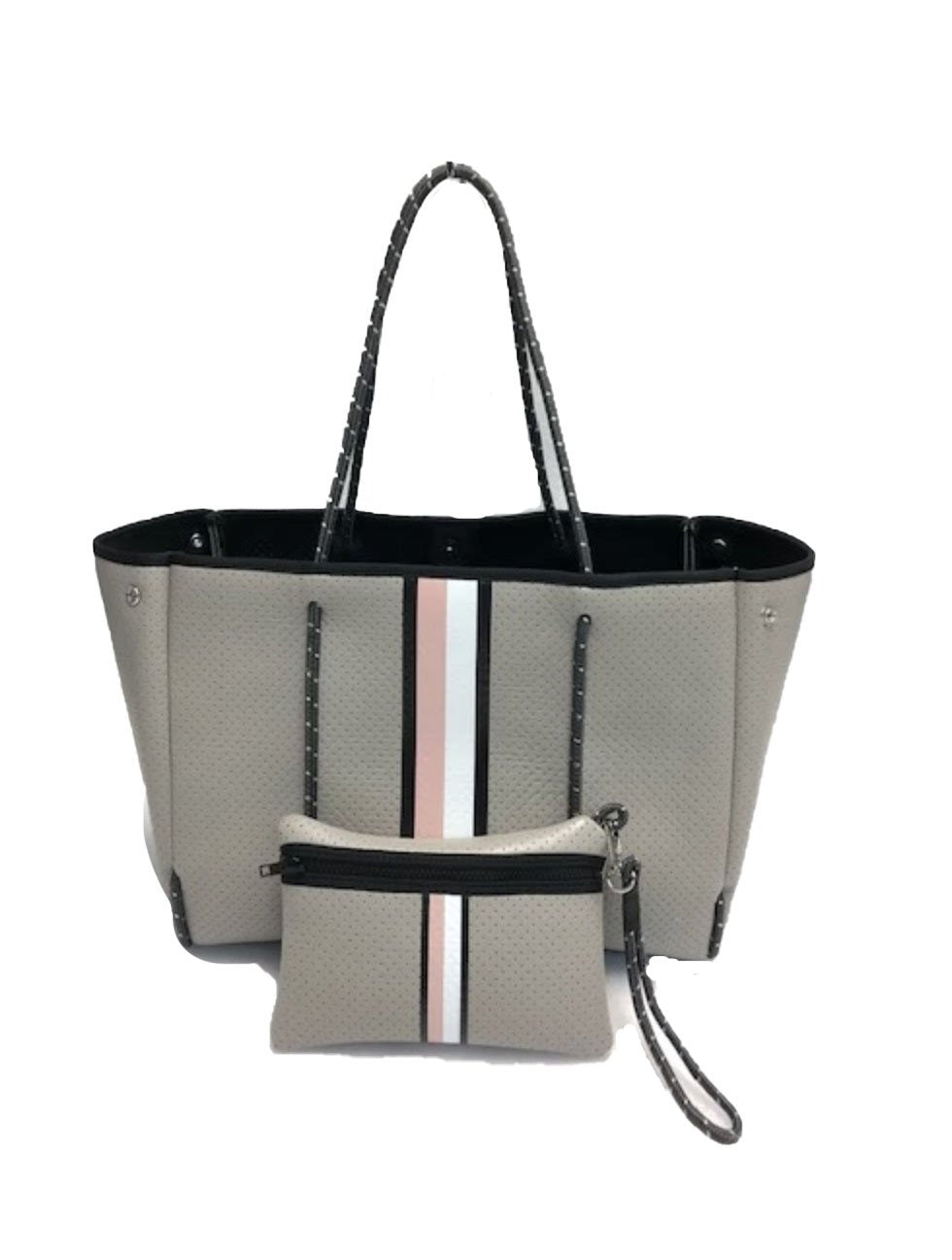 Haute Shore Greyson Posh Tote in Taupe with Black/Blush/White Stripes