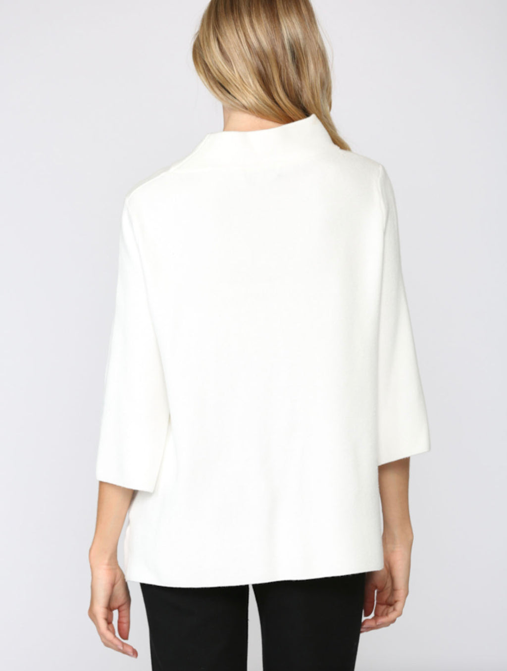Fate Mock Neck Bell Sleeve Sweater in Cream