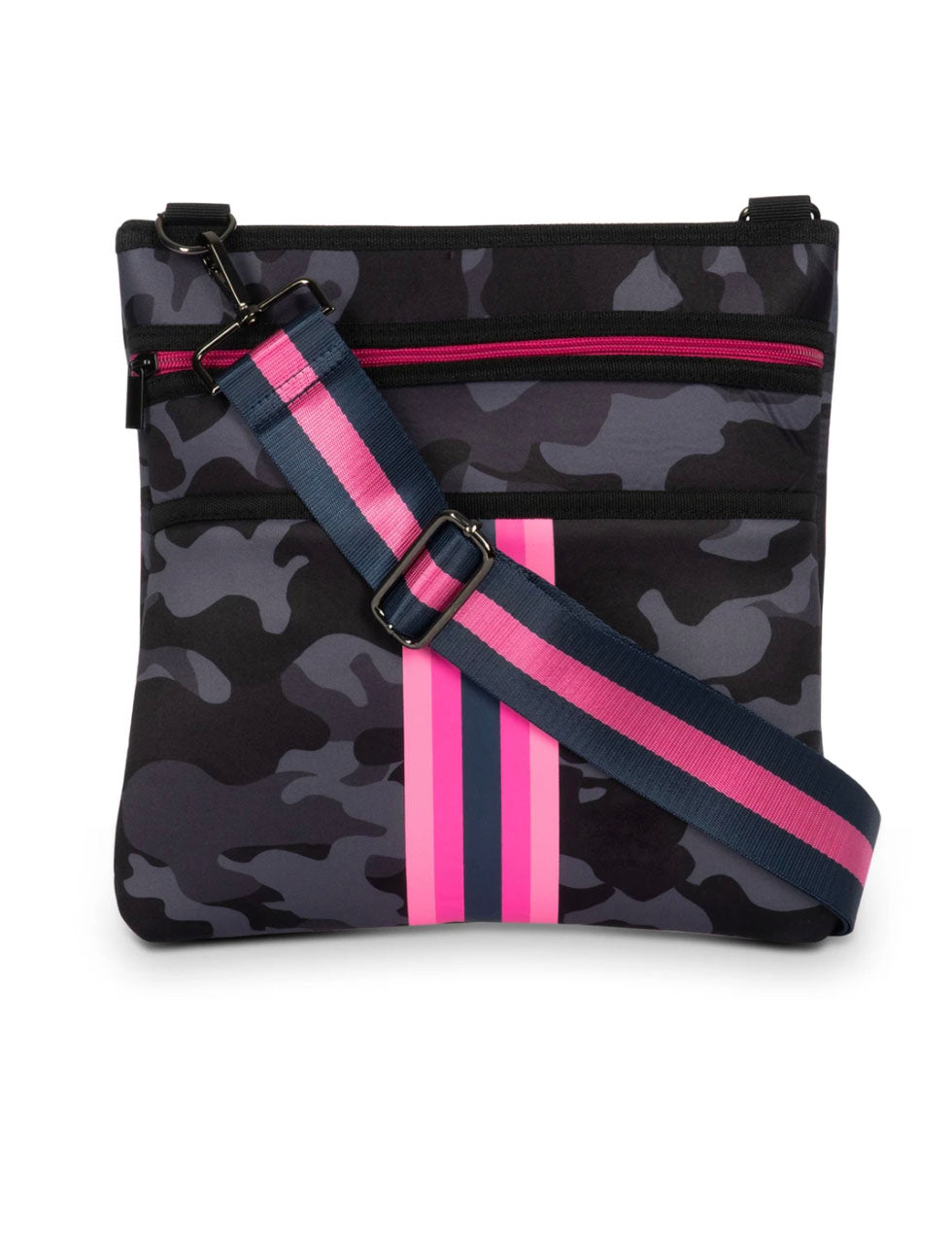 Haute Shore Peyton Epic Crossbody in Grey Camo with Pink Stripes