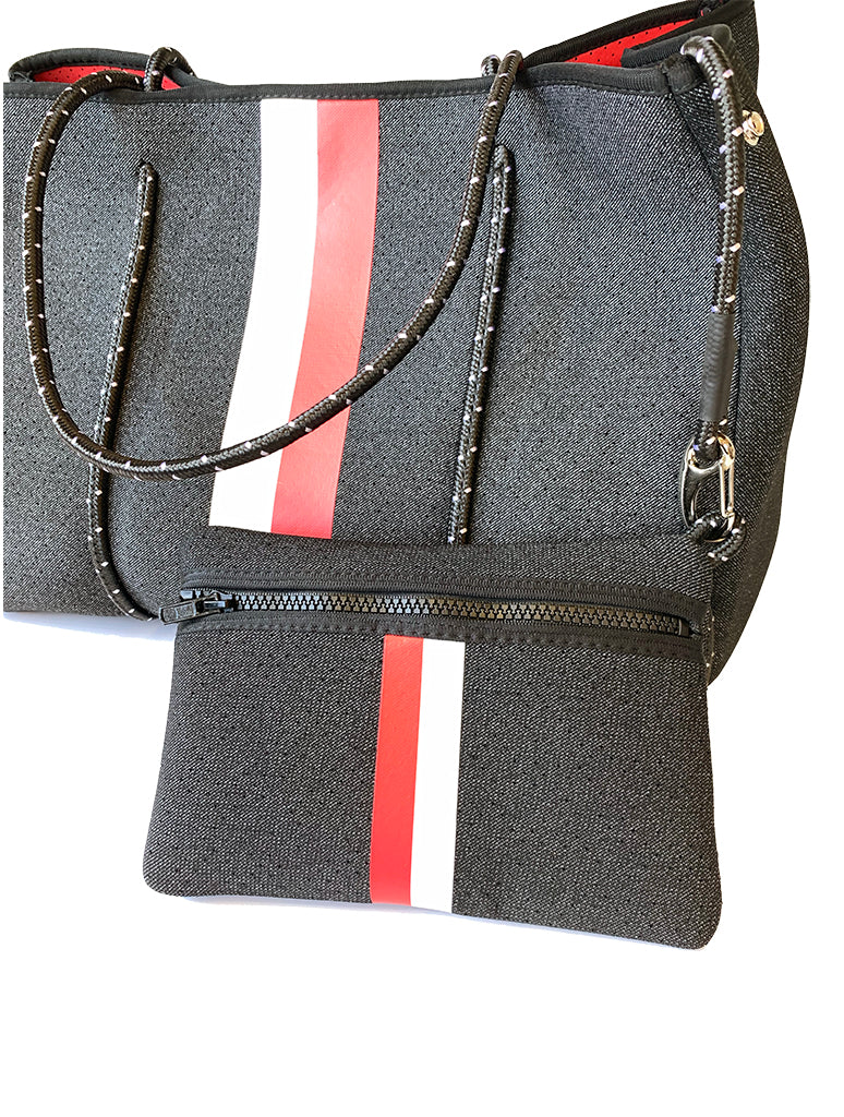 Haute Shore Greyson Collegiate Tote in Black Denim and Red Stripe