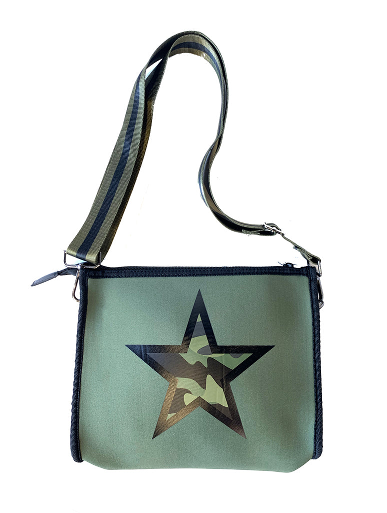 Haute Shore Mark Want Crossbody Bag in Olive with Green Camo Star
