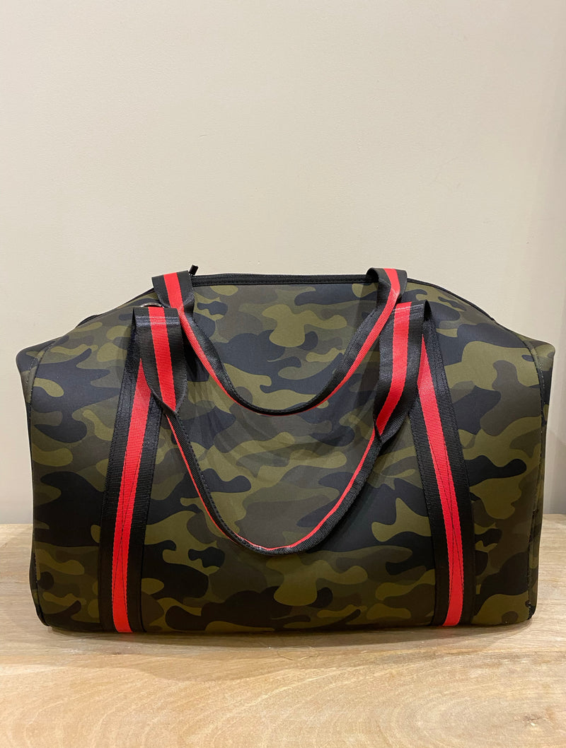 Haute Shore Morgan Jet Weekend Tote in Green Camo/Black/Red