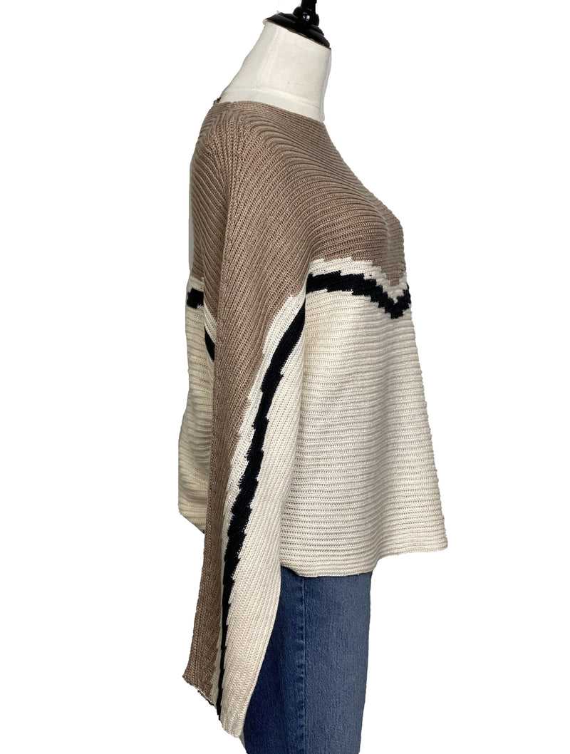 Hem & Thread Chevron Dolman Sweater in Taupe/Black/Cream