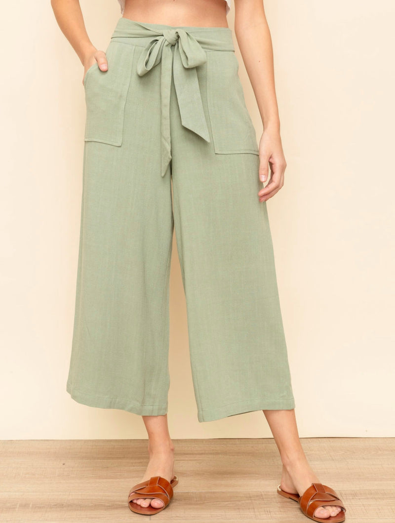 Hem & Thread Belted Wide Pant in Olive