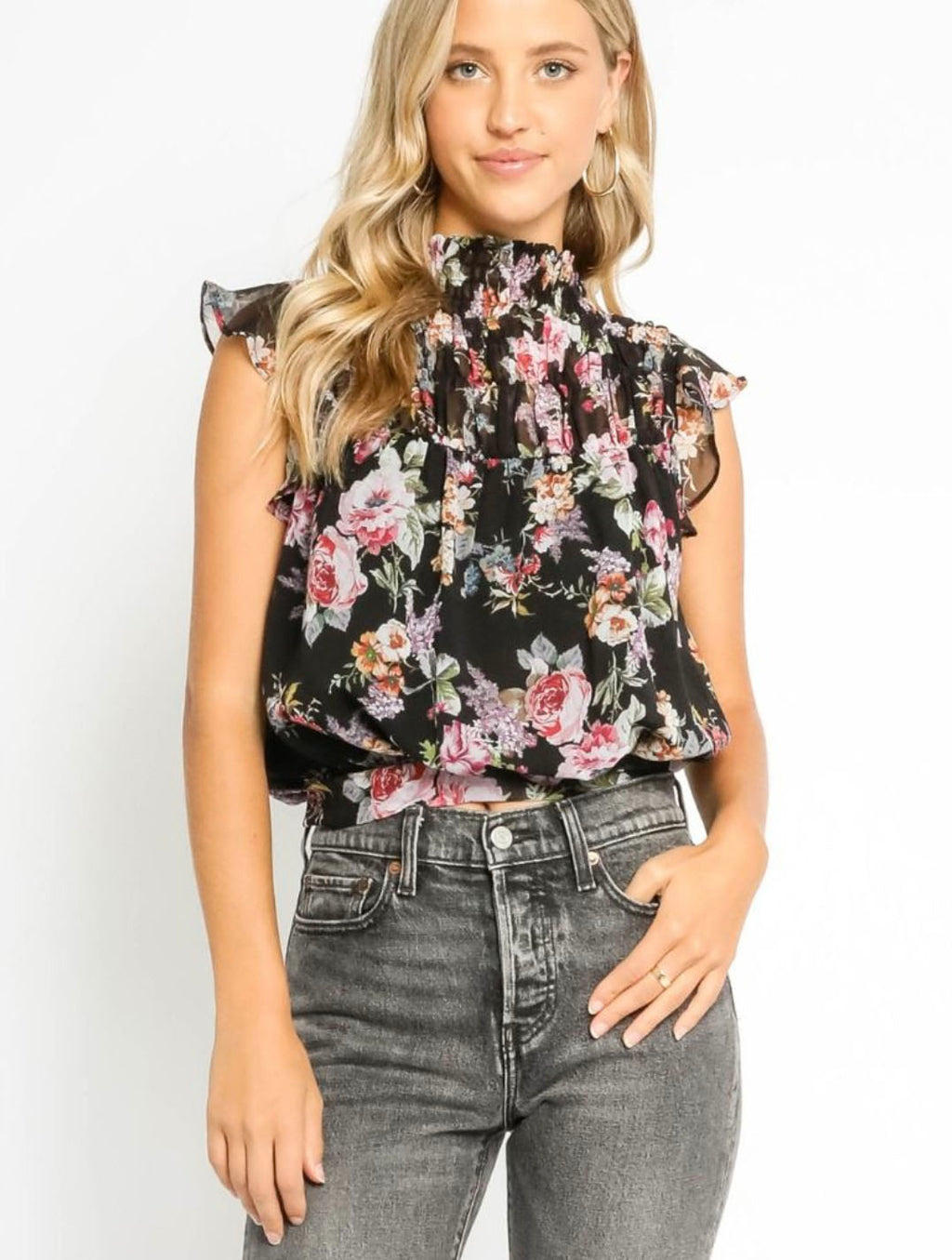 Olivaceous Floral Blouse in Black Floral