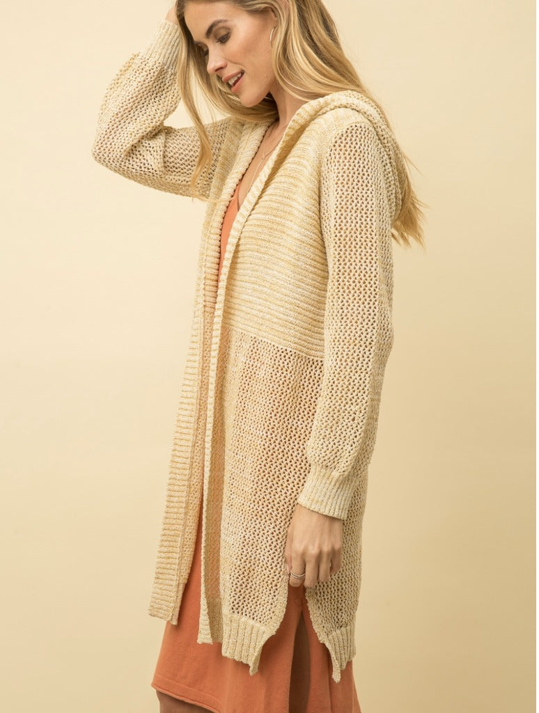 Mystree Hooded Cardigan in Yellow