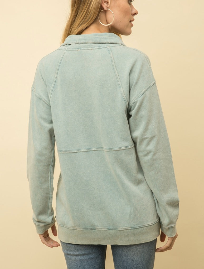 Mystree Half Zip in Mint