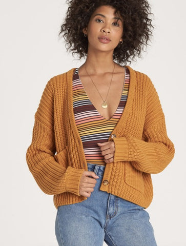 Billabong Worth It Striped Cardigan Sweater in Black/White