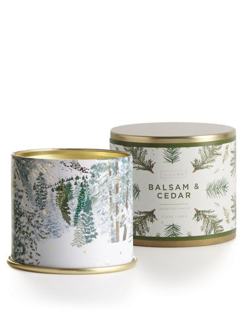 Illume Large Tin Candle in Balsam & Cedar