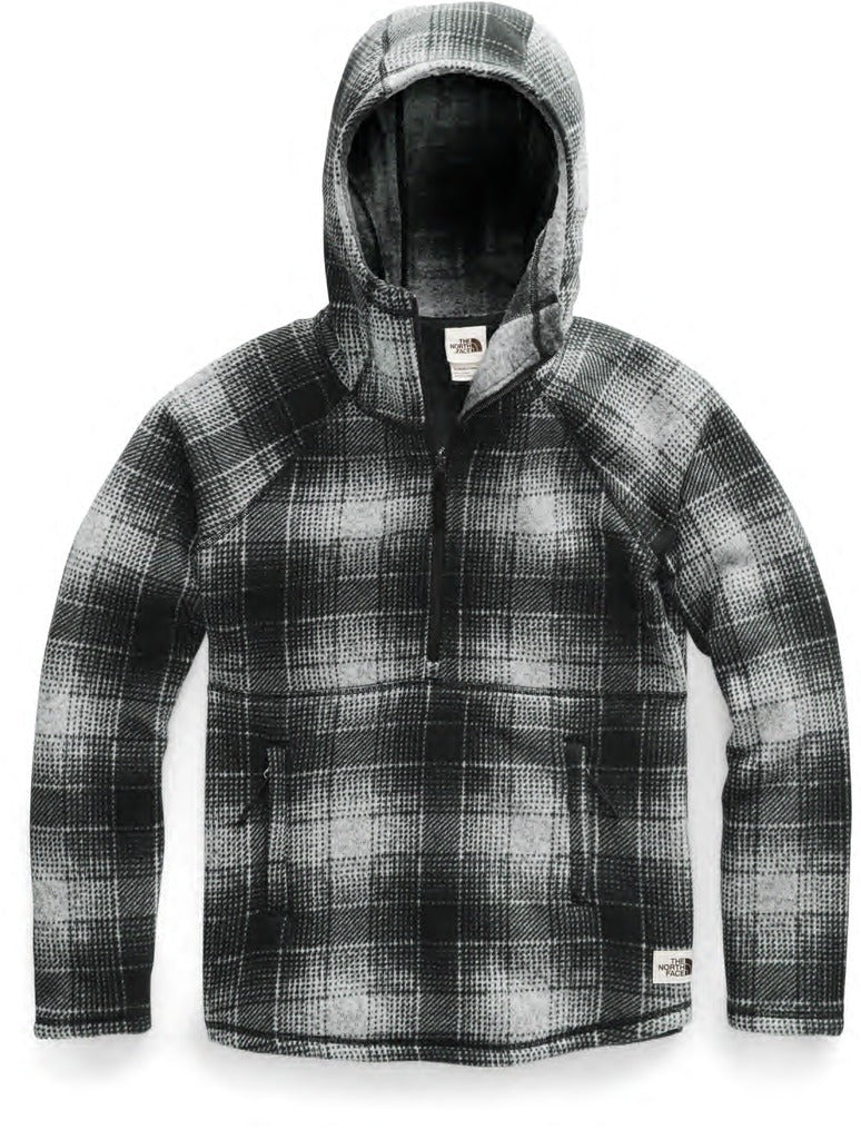 North Face Crescent Hooded Pullover in Grey Plaid