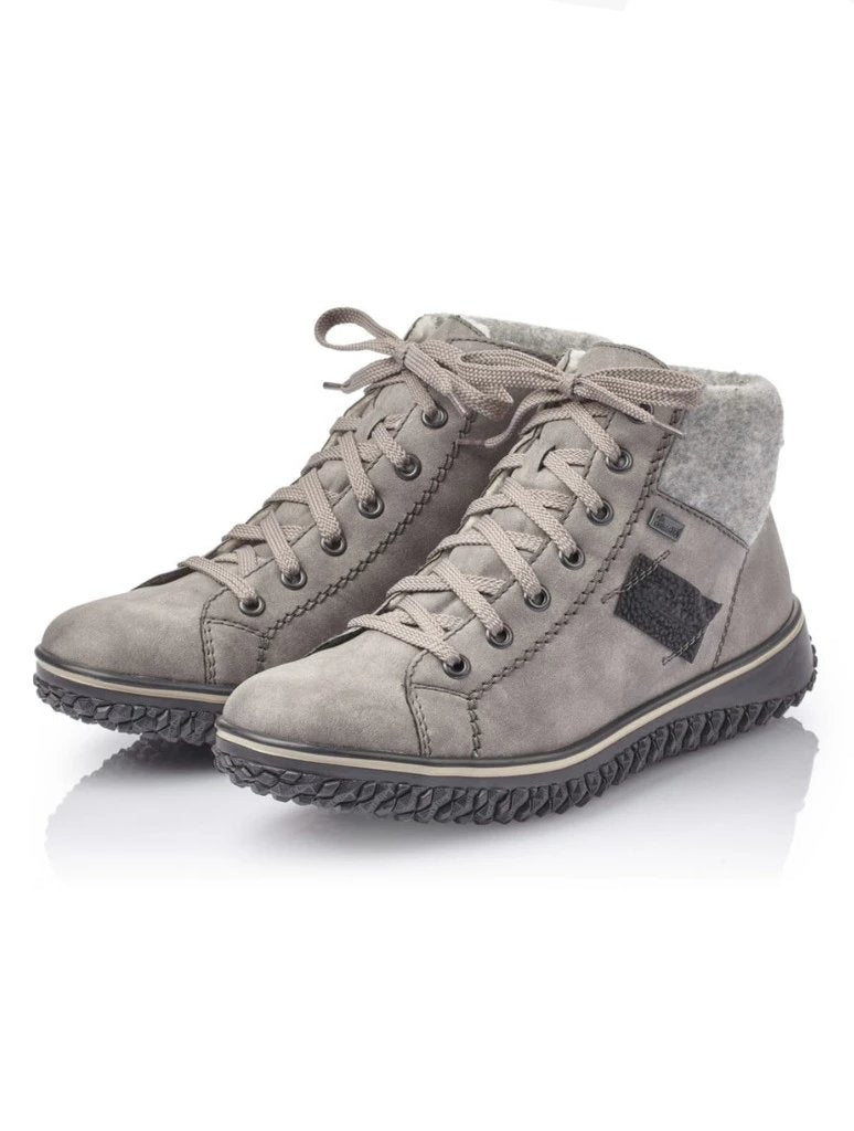 Rieker Lace-up Knit Top Sportbottom Sneaker in Grey/Fog