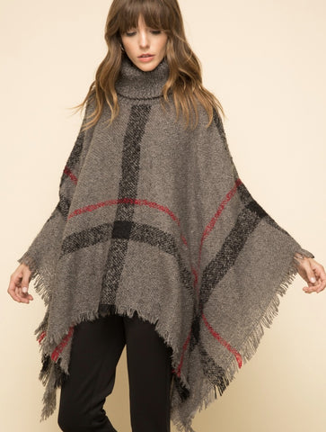 THML Oversize Fringe Knit Cardigan Poncho Sweater in Grey