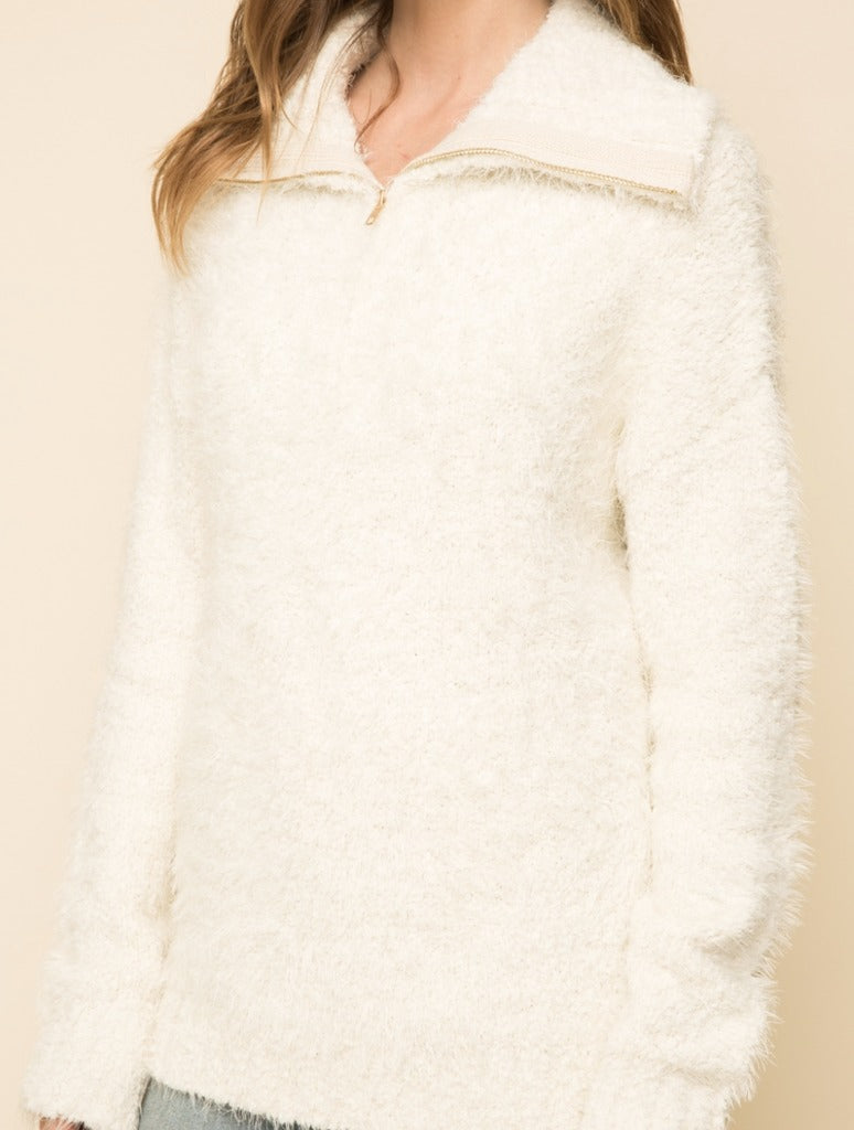 Mystree Zip Pull Over in Cream