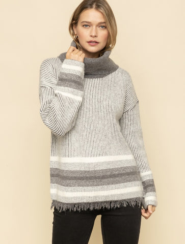 Elan Fringe Sweater in Black Multi