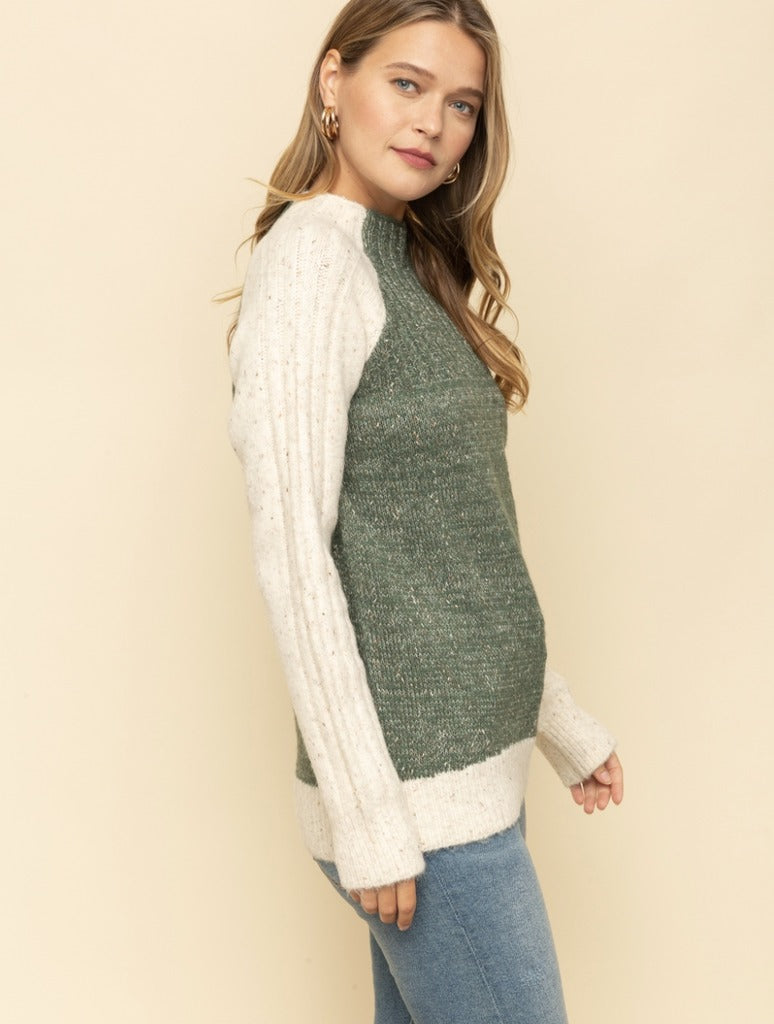 Mystree Raglan Mock Neck in Olive