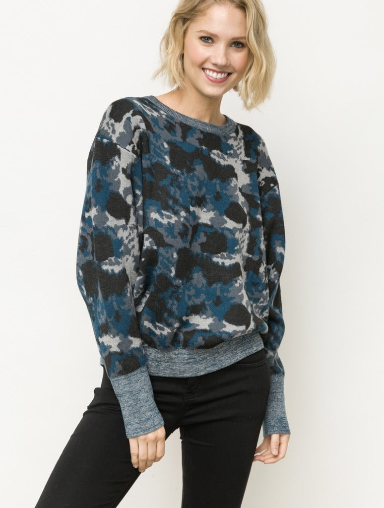Mystree Camo Sweater in Grey