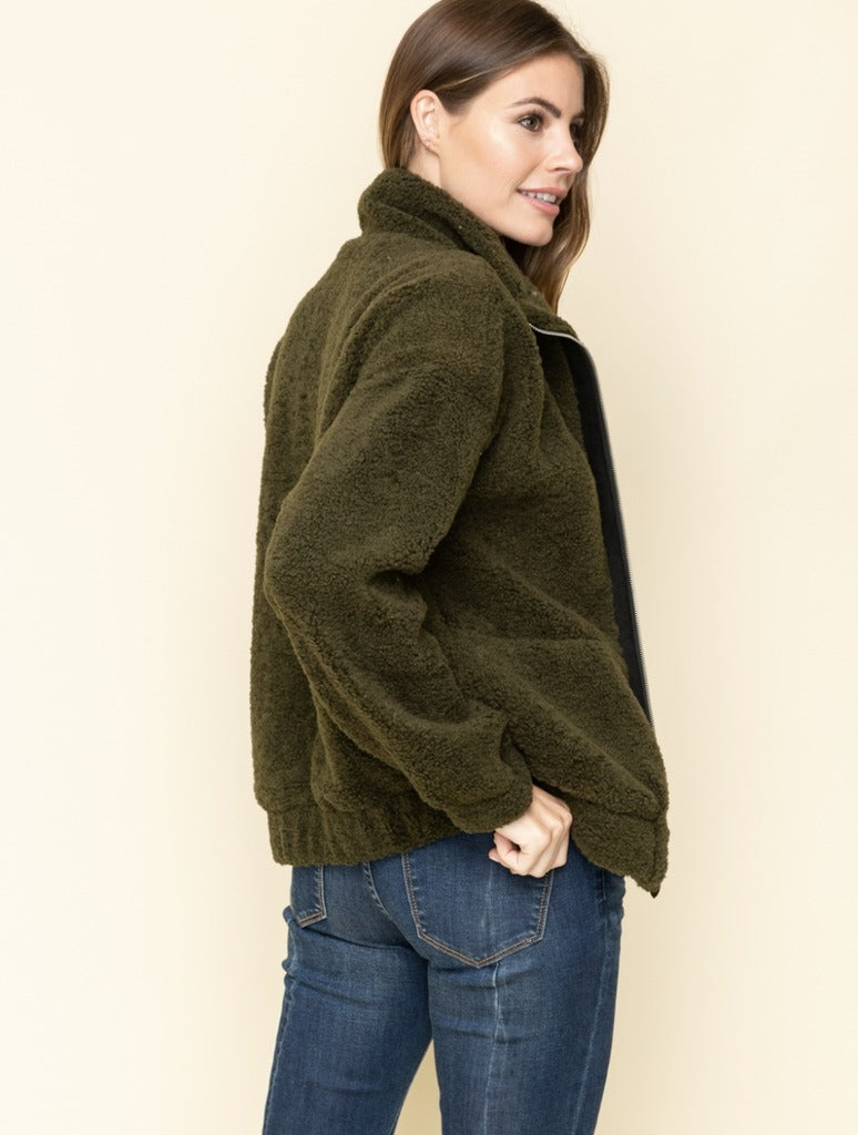 Mystree Zip Teddy Jacket in Khaki